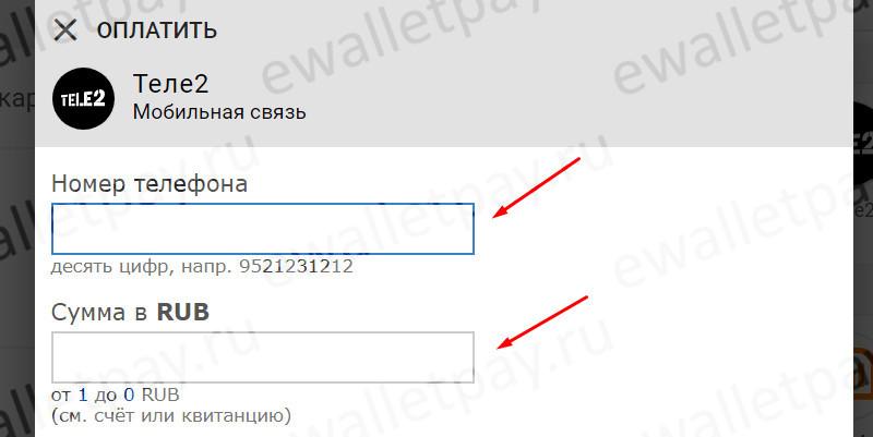 Заполнение номера телефона и суммы перевода в Кипере