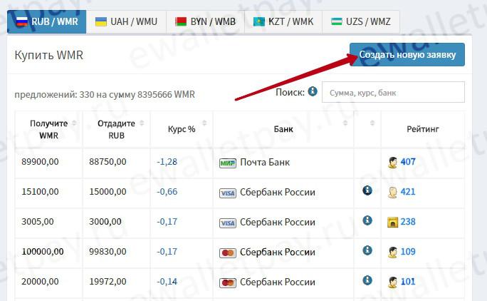 Создание новой заявки на пополнение Вебмани через сервис exchanger