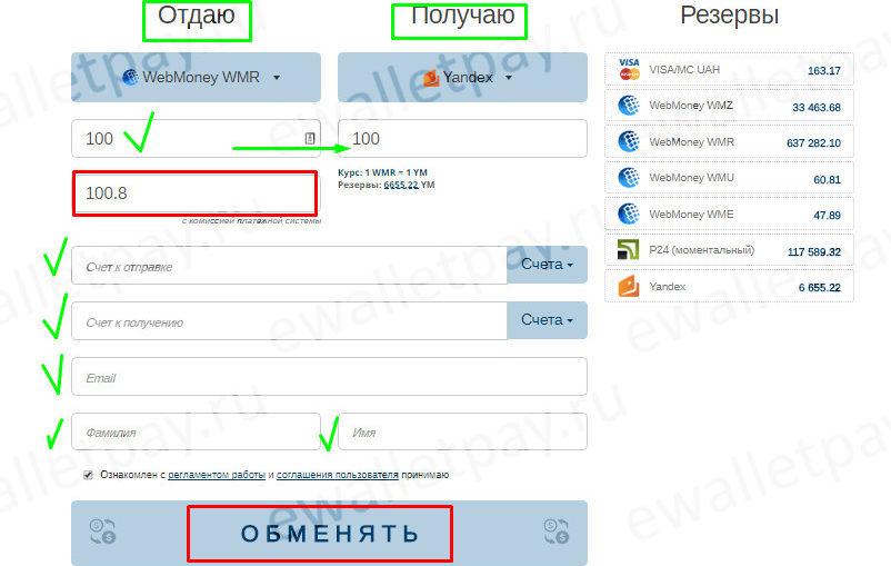 Заполнение формы на сервисе bestchange для обмена Вебмани на Яндекс.Деньги