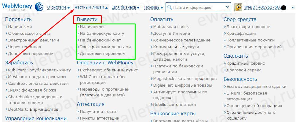 Выбор варианта вывода средств в личном кабинете Webmoney