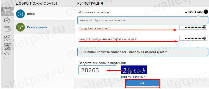 Введение пароля и капчи для регистрации кошелька Webmoney
