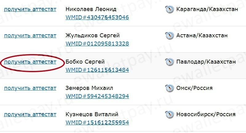 Выбор ближайшего регистратора для оформления персонального аттестата Вебмани