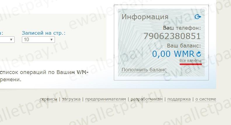 """Переход по ссылке с анкором """"Все валюты"""" в WM Check для смены пароля"""