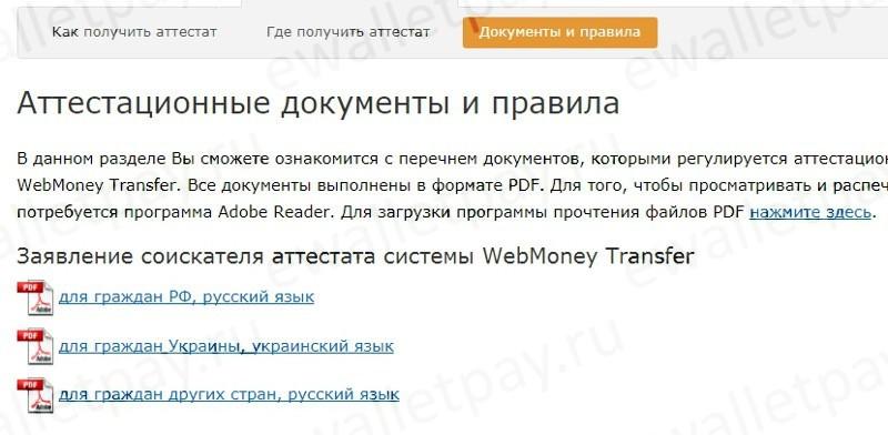 Информация по перечню документов, которыми регулируется WebMoney Transfer