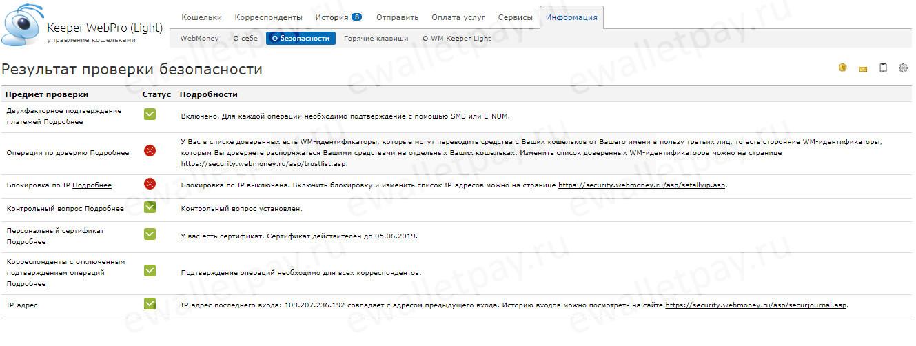 Информация с результатом проверки безопасности в Вебмани Лайт