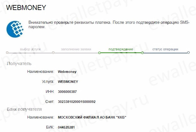 Проверка правильности реквизитов при пополнении Вебмани через Сбербанк Онлайн