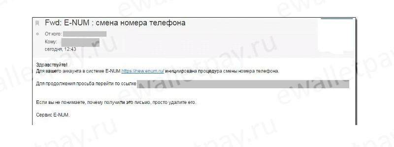 Письмо на email с инструкцией по дальнейшим действиям для смены номера в E-Num
