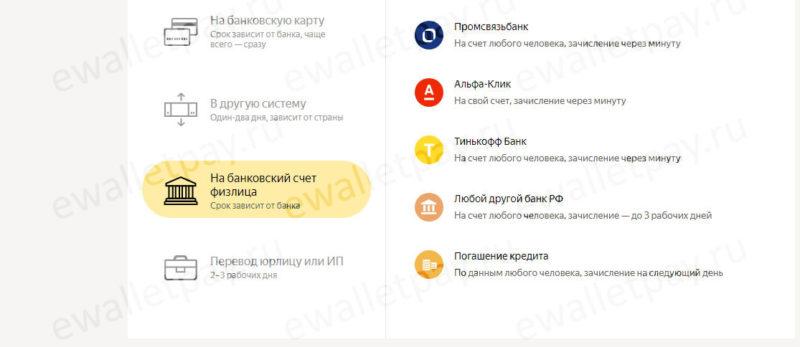 Перечисление Яндекс.Денег на банковский счет