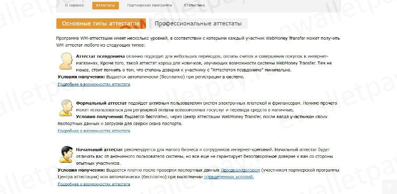 Информация по основным типам аттестатов Вебмани