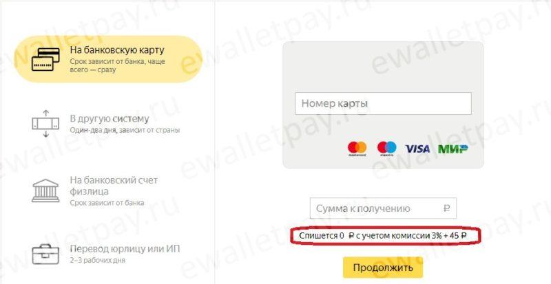Комиссия за перевод средств с Яндекс кошелька на банковскую карту