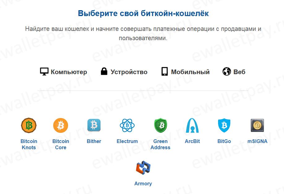 Выбор онлайн биткоин кошелька для оплаты